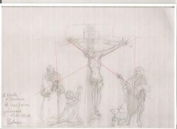 schéma de la construction de la crucifixion dans le triptyque des Ardents